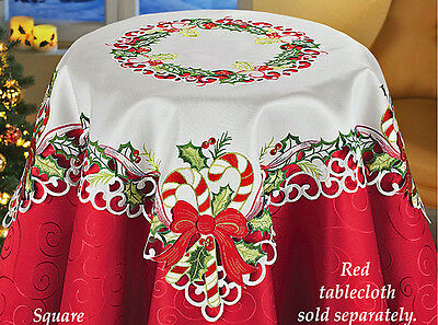 Holiday Candy Cane Holly & Ribbons Christmas Decor Tablecloth Table Runner 34""