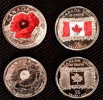 2 SET OF 2-2015 25cents COLOURED&PLAIN CANADIAN FLAG and REMENBRANCE DAY POPPY