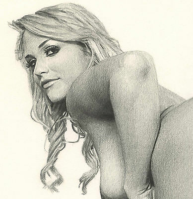 Limited Edition Female Nude Erotic Art Print - Pencil Drawing Print Sexy Pin Up
