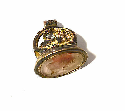 Ancient Roman Empire Bronze Seal Pendant,with Intaglio Glass,stone Cameo.