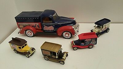 1940's Pepsi Forties Ford & 4 Pepsi-Cola Diecast 1912 Ford Pickup Truck