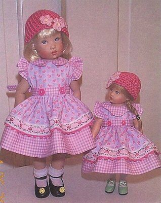 """outfit Dress Doll Clothes PATTERN  fits 7.5"""" & 11'  Bethany Kish Bitty Riley."""