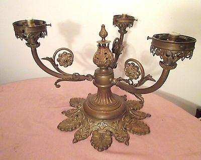 antique 1800's bronze ornate Victorian gas electric chandelier ceiling fixture