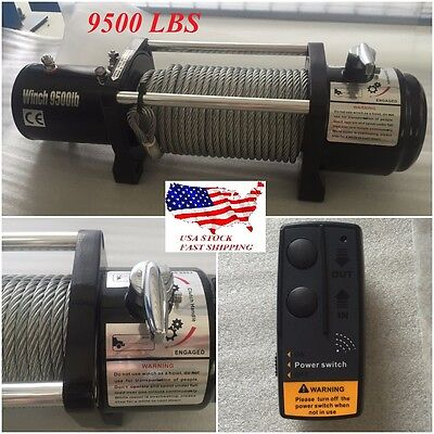 9500lbs 12V Classic Electric Recovery Winch Truck SUV Wireless Remote Control