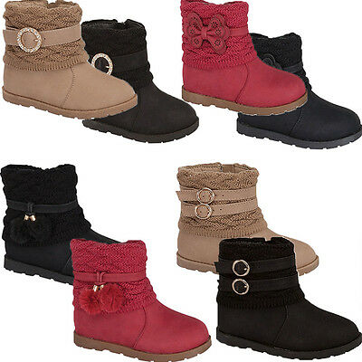 4-8 Infant Toddler Low Heel Mid Calf Faux Fur Baby Girl Boot Buckle Bow Suede