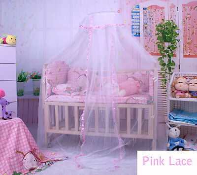 Baby Bed Breathable Mosquito Net Toddler Bed Dome Canopy Netting Lace Decor Pink