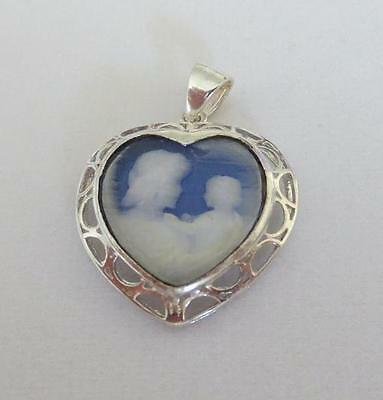 925 Sterling Silver Heart Shaped Pendant, Mother & Child Cameo