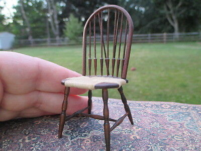 Dollhouse Miniatures ~ Handmade William Clinger Windsor Chair with Rush Seat