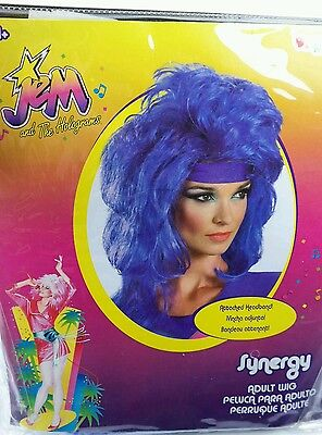 Adult halloween costume wig Jem and the holograms synergy blue wig NEW
