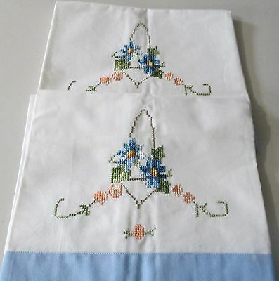 Pair  Hand Embroidered Cross Stitch  Cotton Pillowcase Blue Band - NWOT