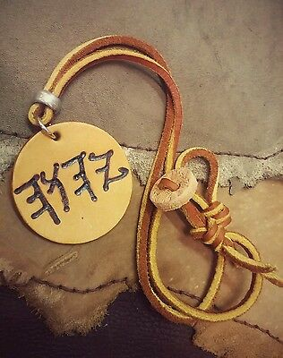PALEO HEBREW 2inch Brown Bold Leather Necklace Jewish Hebrew Torah NAME OF YHWH