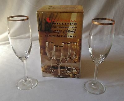 Set Of Four Grange Gold Maxwell Williams Champagne Flutes - New In Box - Gilt