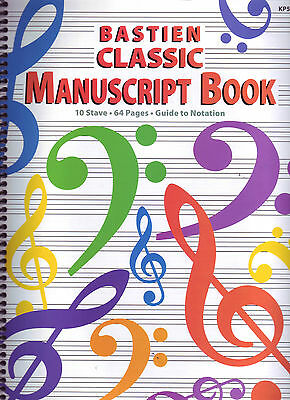 Bastien Classic Manuscript Book - KP52 - 10 Stave - 64 pages - Guide to Notation