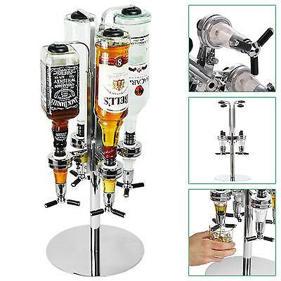Rotary 4 Bottle Stand Drinks Optics Dispenser Spirits Wine Steel Bar Butler Rack