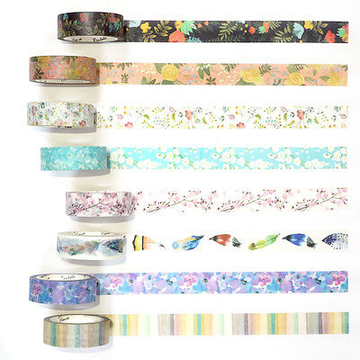 Watercolor Flower Paper Washi Tape Masking Adhesive Roll Decorative Card Craft
