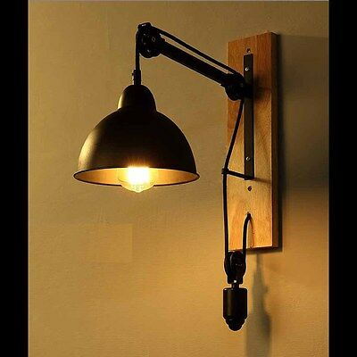 Vintage Industrial Wall Light Lift DIY Cord Adjustable Ceiling Lamp Fixture New AUD 131.99 ...