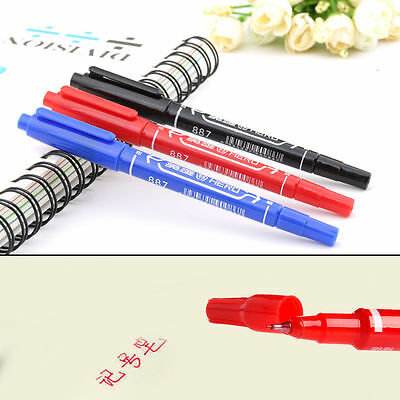3/6PCS 3 Colors Thick Fine Twin Tip Permanent Drawing Waterproof Marker Pen
