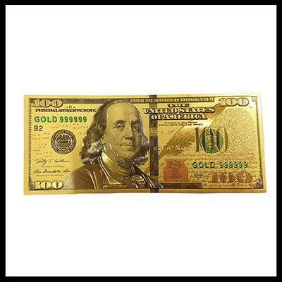 New Style U.S. Note $100 One Hundred Dollars 24k .999 Gold Banknote w/ Sleeve