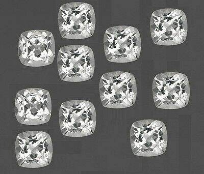 4mm - 20mm Natural Crystal Quartz Faceted Cut Cushion Top Quality Loose Gemstone