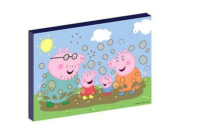 "PEPPA PIG muddy puddles 12""X16"" (A3) CANVAS PICTURE"