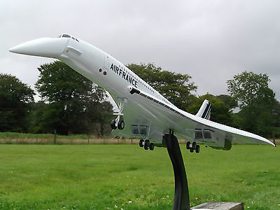 BRITISH AIRWAYS CONCORDE BIG 4-ft Wood Model Aircraft Nose Landing Gear Down NEW