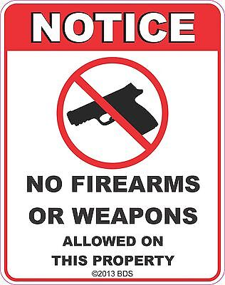 """NO Firearms Allowed on a 12/"""" wide x 8/"""" High Aluminum Sign Made in USA UV Protctd"""