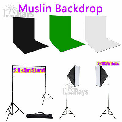 Photography Studio Continuous Lighting Softbox Light 2.8x3m Backdrop Stand Kit