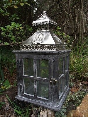 Large rustic candle lantern wood and tin indoor or outdoor