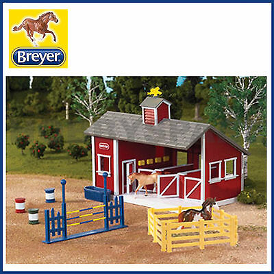 NEW BREYER STABLEMATES RED STABLE SET with TWO HORSES 1:32 SCALE 59197