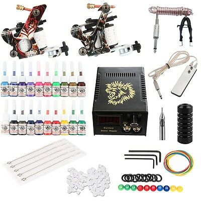 Kit de Tatouage Machine Gun Alimentation Pedale Aiguille Tips Grips Set  Tattoo