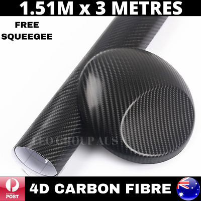 1.52M X 3M 4D Black Carbon Fiber Fibre Vinyl Car Wrap Air Bubble Free Premium