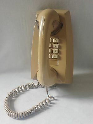 Vintage Beige Push Button Dial Wall Mount Telephone - Phone - Lovely Condition
