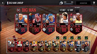 NBA live mobile AH3 account with Shaq,LBJ, master WB,Green,Paul,Melo,Global Melo
