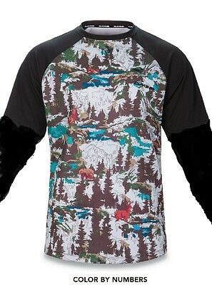 Dakine Bike Dropout Long Sleeve Jersey - Color By Numbers -Size/talla L-Camiseta