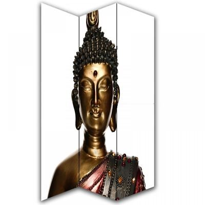 Buddha Statue Photo Canvas Dressing Privacy Screen Folding 3 Panel Room Divider
