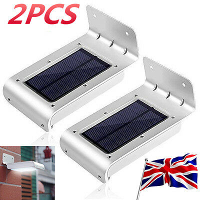 2Pcs Motion Sensor LED Wall Path Light Wireless Solar Powered Waterproof Outdoor