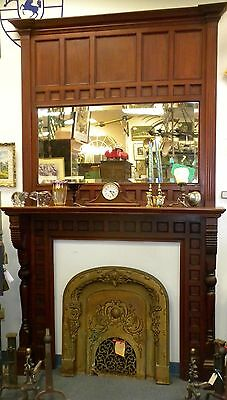 Aesthetic 1870's Solid Cherry Antique Fireplace Mantle Surround/w Mirror