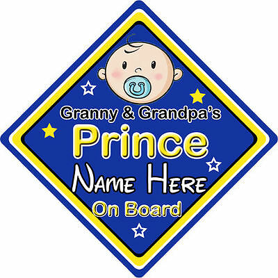 Non Personalised Child//Baby On Board Car Sign ~ Princes On Board ~ L.Blue