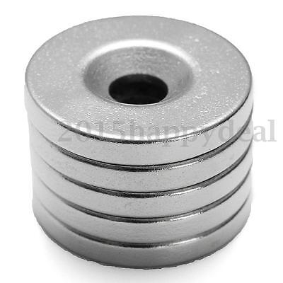 5Pcs Strong Round Countersunk Rare Earth Neodymium 20 x 3mm Hole 5mm N35 Magnets