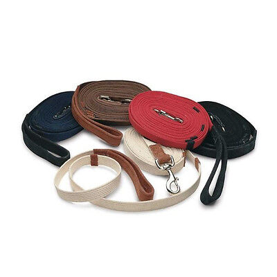 """New """"cottage Craft """" Red Lunge Rein Leather Handle Lunge Line"""