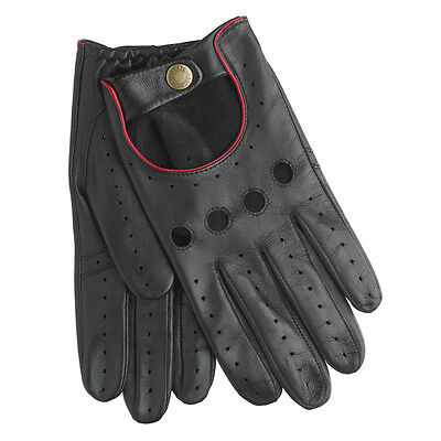 Dents Delta Men's Hairsheep Black/Berry Leather Classic Driving Gloves Sz M