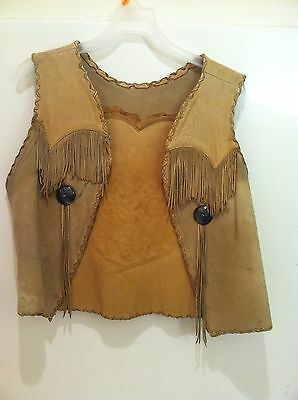 Old 1950's Native American Leather Vest Sterling Silver Turquoise Conchos