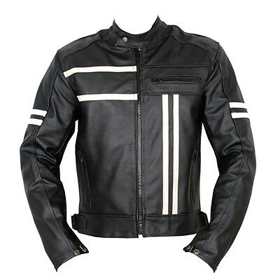 Leather Vintage Cruiser Motorbike Motorcycle Armour Protection Jacket New Racer