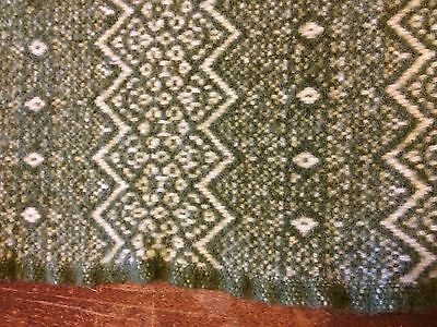 Antique Vintage Heavy Wool Blanket Olive Green Lap Buggy Carriage