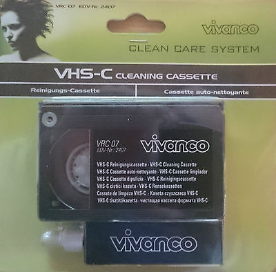 Vivanco VHS-C S-VHS-C CAMCORDER Reinigungs Set VRC 07 Kassette Cleaner NEU