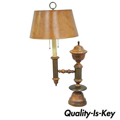 Vintage Distressed Wood & Brass French Country Rustic Table Desk Bouillotte Lamp