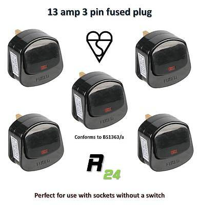 5x 13A Plugs Black with ON/OFF Switch, Neon Indicator fitted with a 13amp fuse