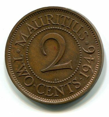 Mauritius 2 Cents 1946Sa Unc Uneven Toning Very Scarce Type