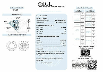 IGL Certified .45ct D SI3 Round Brilliant Natural Diamond Investment rrp £440
