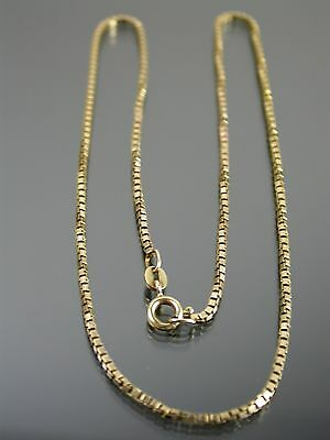 VINTAGE 9ct GOLD BOX LINK NECKLACE CHAIN 16 inch